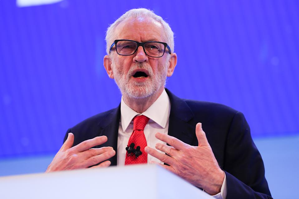 LONDON, UNITED KINGDOM - 2019/11/18: Leader of the Labour Party, Jeremy Corbyn makes a keynote political speech during the annual Confederation of British Industry (CBI) conference held in London. (Photo by Steve Taylor/SOPA Images/LightRocket via Getty Images)