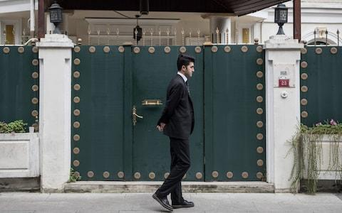 A consulate security guard walks in front of the entrance of Saudi Arabia's Consul-General's residence amid a growing international backlash to the disappearance of journalist Jamal Khashoggi on October 16, 2018 in Istanbul - Credit:  Chris McGrath/ Getty Images Europe