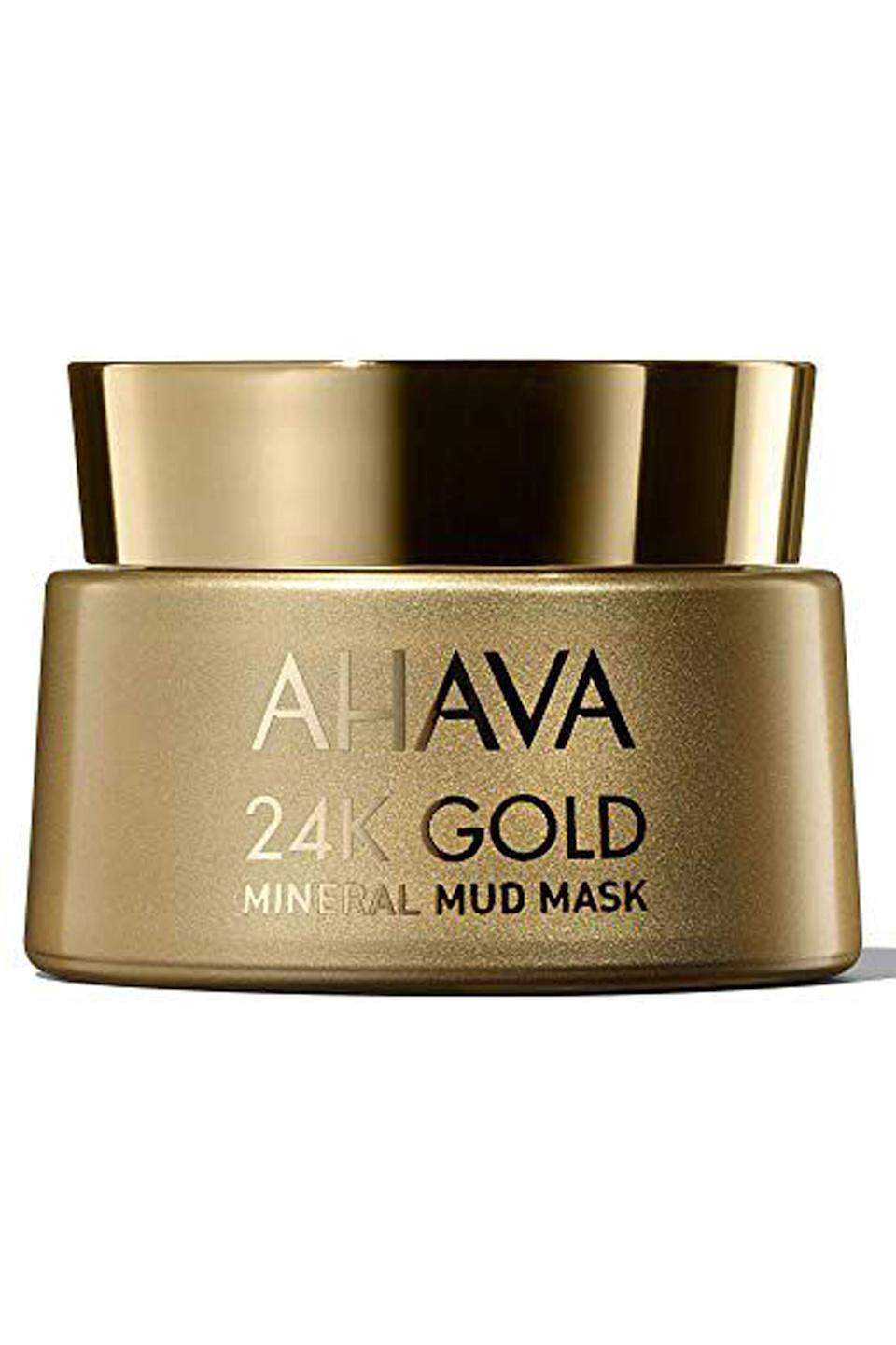 """<p><strong>AHAVA</strong></p><p>amazon.com</p><p><strong>$68.00</strong></p><p><a href=""""http://www.amazon.com/dp/B011UC0IS0/?tag=syn-yahoo-20&ascsubtag=%5Bartid%7C10049.g.4577%5Bsrc%7Cyahoo-us"""" rel=""""nofollow noopener"""" target=""""_blank"""" data-ylk=""""slk:Shop Now"""" class=""""link rapid-noclick-resp"""">Shop Now</a></p><p>It's not just the packaging that makes this <a href=""""https://www.cosmopolitan.com/style-beauty/beauty/g10285431/best-face-masks/"""" rel=""""nofollow noopener"""" target=""""_blank"""" data-ylk=""""slk:face mask"""" class=""""link rapid-noclick-resp"""">face mask</a> so luxe. The formula is<strong> made with actual mud from the Dead Sea</strong> that works to clean pores and brighten dull skin. Plus, the subtle shimmer the 24-karat gold leaves behind is a nice (Midas) touch.</p>"""