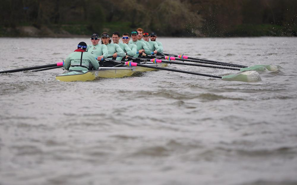 he Cambridge University boat races against the Italian National boat during the 2017 Cancer Research Boat race