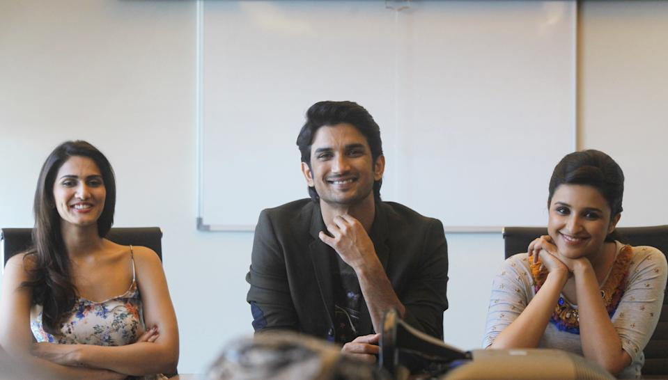 MUMBAI, INDIA - SEPTEMBER 2: Bollywood actors Vaani Kapoor, Sushant Singh Rajput and Parineeti Chopra during the promotion of their upcoming film Shuddh Desi Romance at HT's Mumbai office, on September 2, 2013 in Mumbai, India. (Photo by Kalpak Pathak/Hindustan Times via Getty Images)