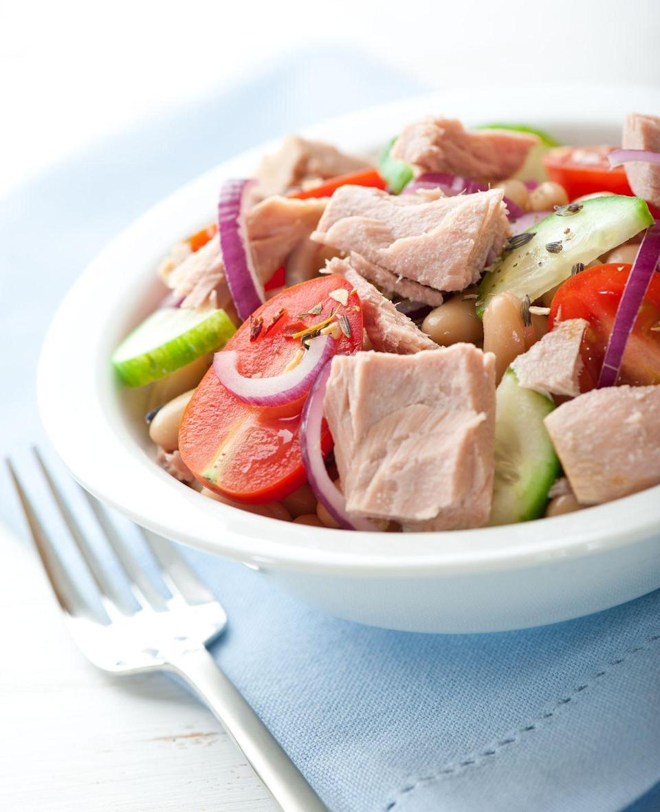 "<p>Whether you go fresh or canned, eating at least two servings of tuna per week can help slow the growth rate of plaque, according to the <a href=""https://www.heart.org/en/healthy-living/healthy-eating/eat-smart/fats/fish-and-omega-3-fatty-acids"" rel=""nofollow noopener"" target=""_blank"" data-ylk=""slk:American Heart Association"" class=""link rapid-noclick-resp"">American Heart Association</a>. The omega-3 fatty acids found in fish can also decrease <a href=""https://www.mayoclinic.org/diseases-conditions/high-blood-cholesterol/in-depth/triglycerides/art-20048186"" rel=""nofollow noopener"" target=""_blank"" data-ylk=""slk:triglyceride"" class=""link rapid-noclick-resp"">triglyceride</a> levels, another risk factor for heart disease. </p><p><strong>RELATED:</strong> <a href=""https://www.goodhousekeeping.com/food-products/g32405230/best-canned-tuna/"" rel=""nofollow noopener"" target=""_blank"" data-ylk=""slk:The Best Canned Tuna to Make Your Favorite Sandwiches and Salads"" class=""link rapid-noclick-resp"">The Best Canned Tuna to Make Your Favorite Sandwiches and Salads</a></p>"