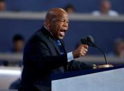 FILE PHOTO: U.S. Rep. John Lewis gestures as he nominates Hillary Clinton at the Democratic National Convention in Philadelphia Pennsylvania