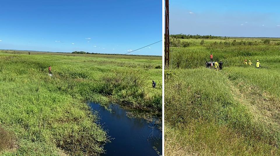 A supplied image of a man who has been rescued from the roof of his 4WD after he crashed into a croc-infested swampy paddock next to the Arnhem Highway, near Darwin.