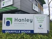 An advertising placard is seen in front of the Hanley Economic Building Society headquarters in Stoke-on-Trent