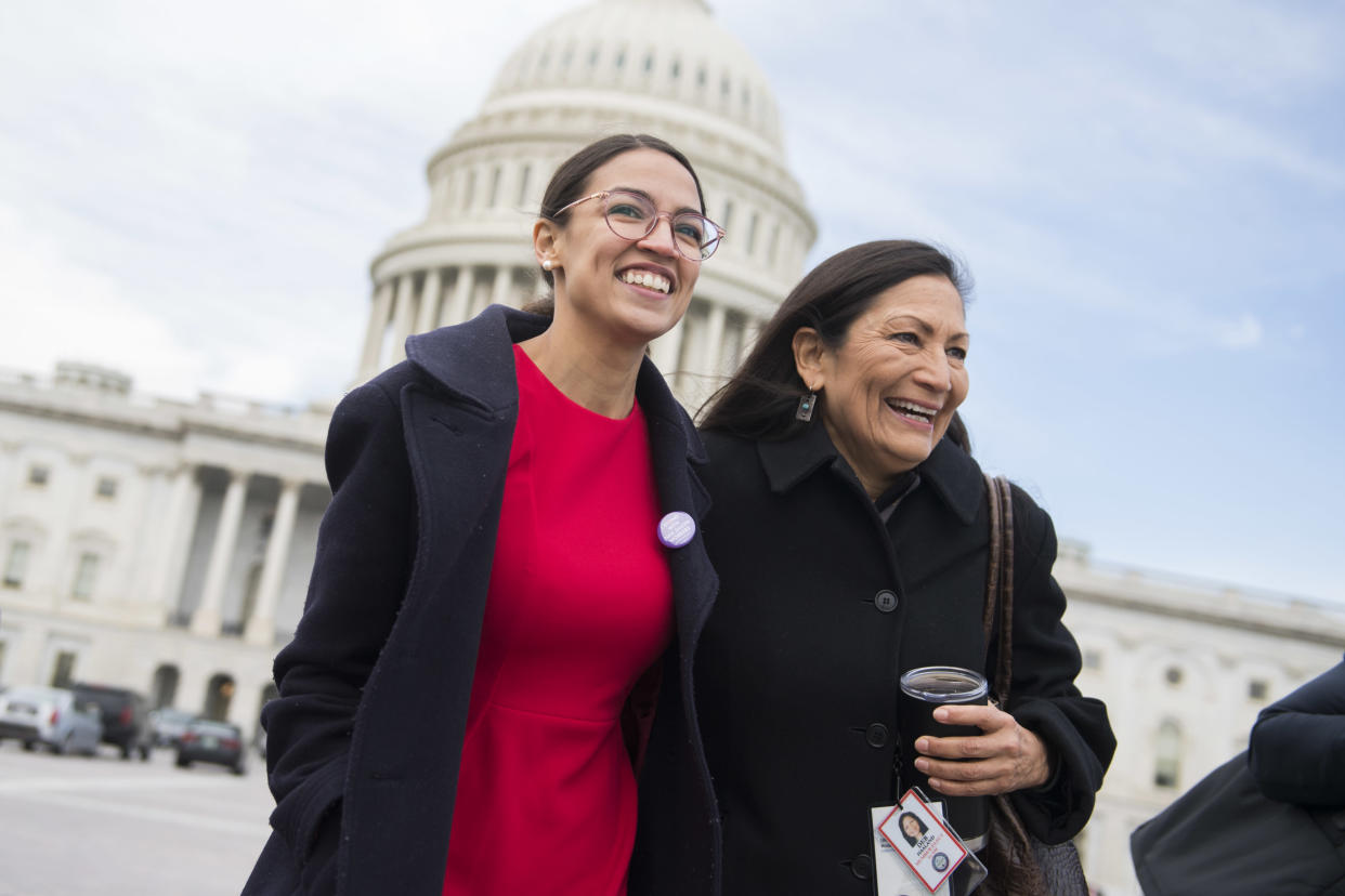 Rep. Alexandria Ocasio-Cortez, D-N.Y., left, and Rep. Deb Haaland, D-N.M. (Photo: Tom Williams/CQ Roll Call/Getty Images)