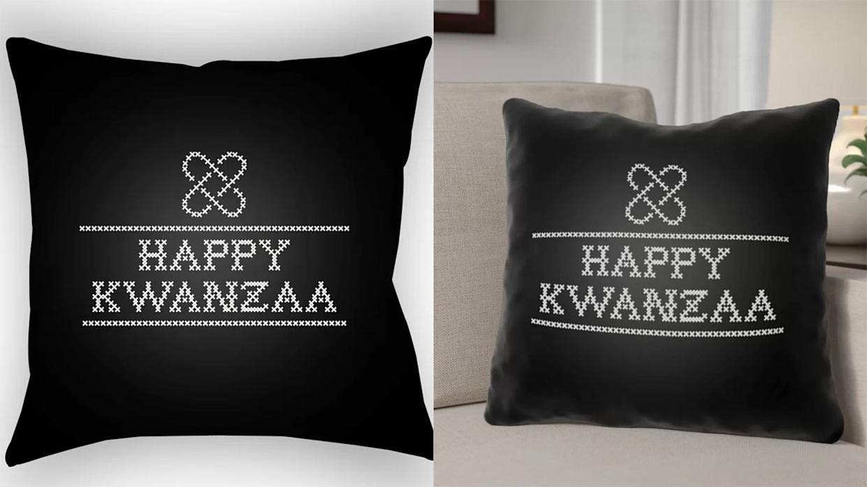 A festive throw pillow for Kwanzaa celebrations.