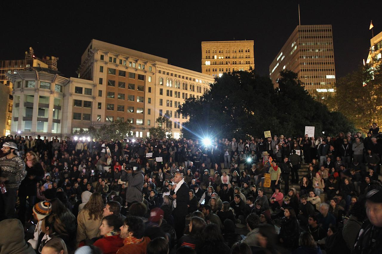 OAKLAND, CA - OCTOBER 26:  Protesters gather at Frank Ogawa Plaza on October 26, 2011 in Oakland, California. Police are allowing protesters back into Frank Ogawa Plaza after the scene of violence there last night, with police firing tear gas into a crowd of hundreds of protesters associated with the Occupy Oakland movement.  (Photo by Justin Sullivan/Getty Images)