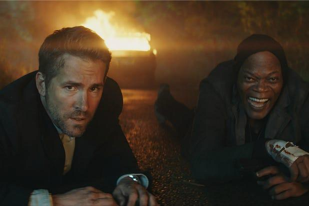 "Ryan Reynolds (left) and Samuel L. Jackson in ""The Hitman's Wife's Bodyguard."""