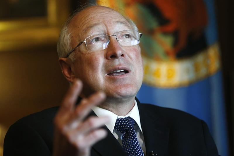 FILE - This April 5, 2013 file photo shows former  Interior Secretary Ken Salazar during an interview with The Associated Press in his office at the Interior Department in Washington. Salazar announced Thursday, June 6, 2013 that he is joining WimerHale as a partner and will open a law office in Denver. (AP Photo/Charles Dharapak, File)