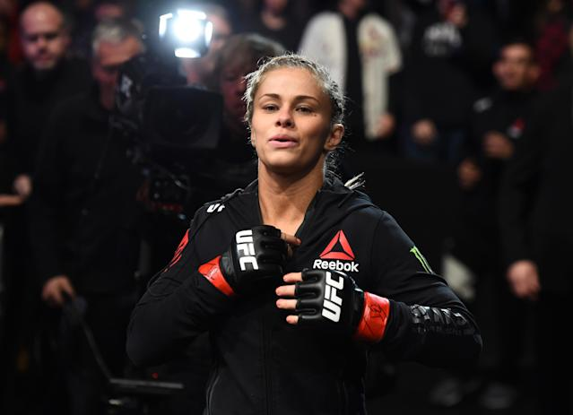 Paige VanZant prepares to enter the Octagon before facing Jessica-Rose Clark of Australia in their women's flyweight bout during the UFC Fight Night event inside the Scottrade Center on Jan. 14, 2018 in St. Louis, Missouri. (Getty Images)