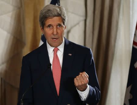 U.S. Secretary of State Kerry speaks at a news conference at the conclusion of the AUSMIN meeting at Admiralty House in Sydney