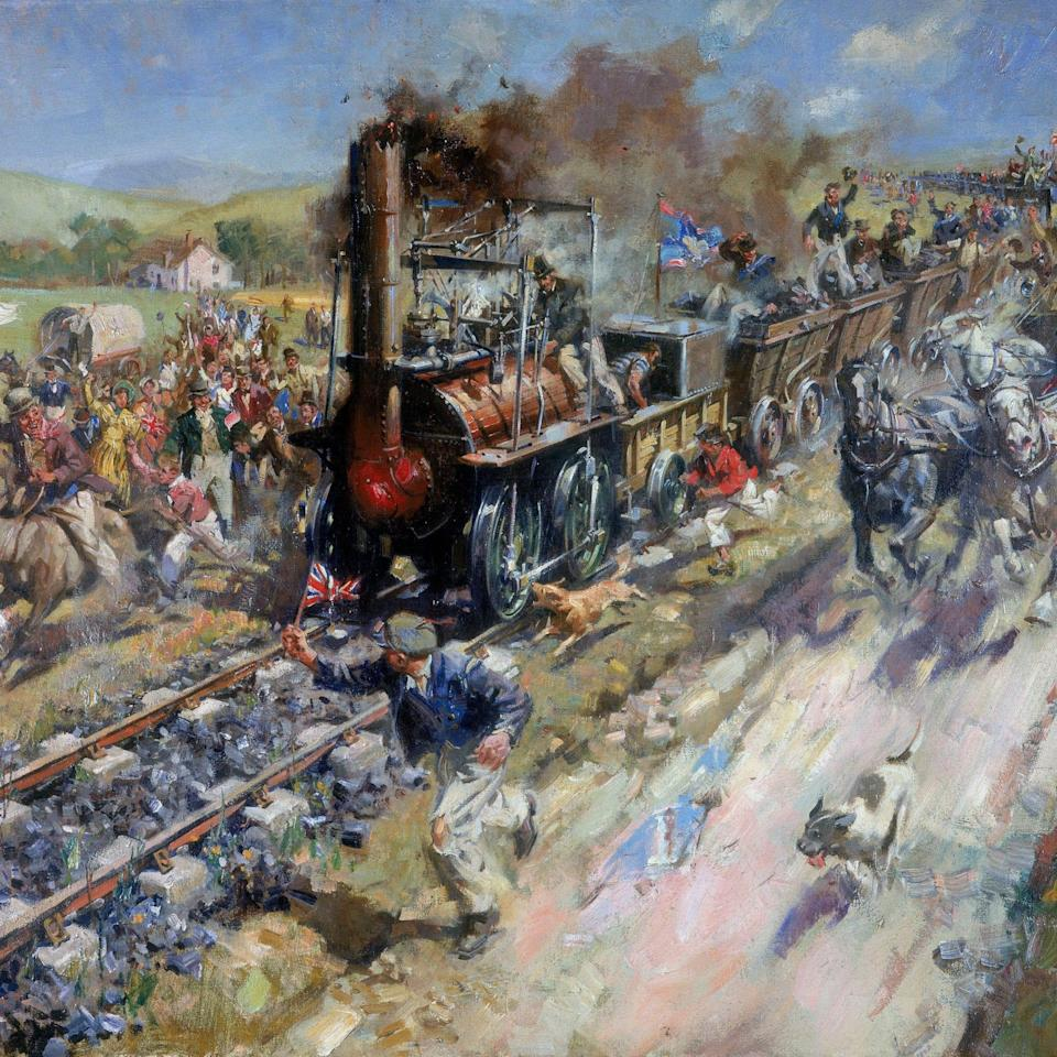 Oil painting of steam train - SSPL via Getty Images