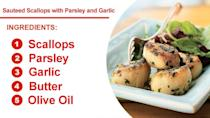 """<p>A simple butter sauce seasoned with salt, pepper, parsley, and garlic lets the delicate flavor of these sauteed <a href=""""https://www.myrecipes.com/t/shellfish/scallops/"""" rel=""""nofollow noopener"""" target=""""_blank"""" data-ylk=""""slk:scallops"""" class=""""link rapid-noclick-resp"""">scallops</a> truly shine.</p>"""
