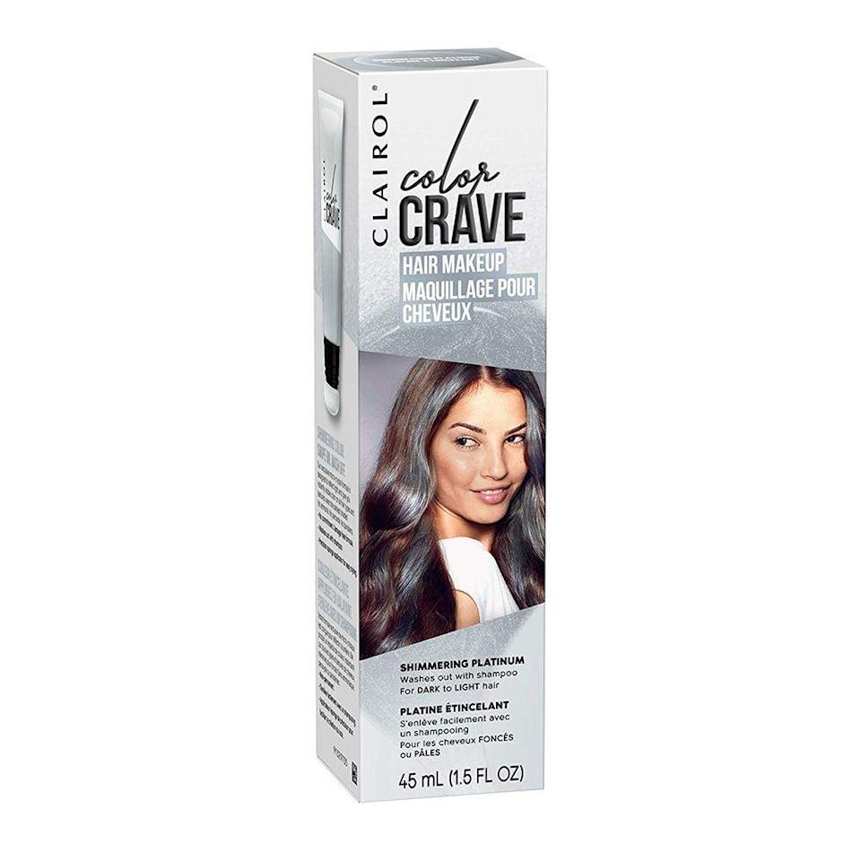"""<p><strong>Clairol</strong></p><p>walmart.com</p><p><strong>$4.99</strong></p><p><a href=""""https://go.redirectingat.com?id=74968X1596630&url=https%3A%2F%2Fwww.walmart.com%2Fip%2F570672385&sref=https%3A%2F%2Fwww.bestproducts.com%2Fbeauty%2Fg3176%2Fgrey-silver-hair-dye%2F"""" rel=""""nofollow noopener"""" target=""""_blank"""" data-ylk=""""slk:Shop Now"""" class=""""link rapid-noclick-resp"""">Shop Now</a></p><p>If you just want to try on a few streaks for a spell, this spray-on hair """"makeup"""" is the perfect solution. It dries onto hair with the heat from your blow-dryer, and then washes out easily in the shower.</p>"""