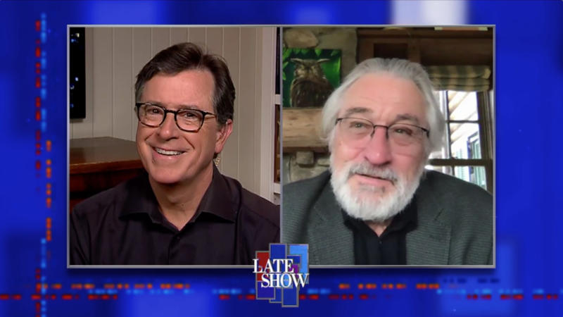 NEW YORK - MAY 6: The Late Show with Stephen Colbert and guest Robert De Niro during Wednesday\'s May 6, 2020 show. Photo is a screen grab. (Photo by CBS via Getty Images)