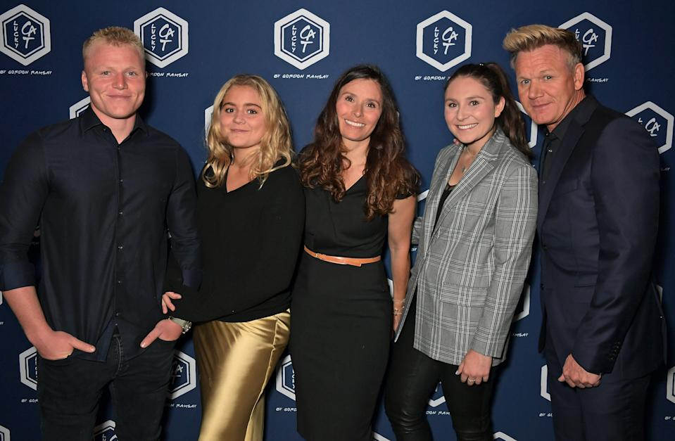 LONDON, ENGLAND - SEPTEMBER 02:  (L to R)  Jack Ramsay, Matilda Ramsay, Tana Ramsay, Megan Ramsay and Gordon Ramsay attend the official launch party of Lucky Cat by Gordon Ramsay in Grosvenor Square, Mayfair on September 2, 2019 in London, England.  Guests enjoyed an array of cocktails, canapés, sushi from the Raw Bar and sparkling sake as DJ Fat Tony entertained the crowd until the early hours.  (Photo by David M. Benett/Dave Benett/Getty Images for Lucky Cat)