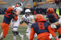 Northwestern running back Drake Anderson (6) carries the ball during the second half of an NCAA college football game against Illinois Saturday, Nov. 30, 2019, in Champaign , Ill. Northwestern won 29-10. (AP Photo/Charles Rex Arbogast)