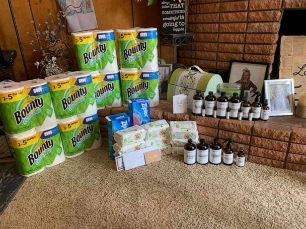 PHOTO: Cleaning supplies donated to an elementary school teacher in Texas are pictured in a photo shared with ABC News. (Obtained by ABC News)