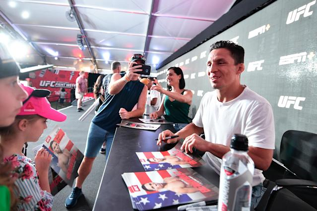 UFC flyweight Joseph Benavidez interacts with fans during the UFC Fan Experience at the Downtown Las Vegas Events Center on July 6, 2019 in Las Vegas. (Chris Unger/Zuffa LLC via Getty Images)