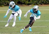 Carolina Panthers cornerback Donte Jackson, right, breaks across the field during practice at Gibbs Stadium on Saturday, July 31, 2021. The team held their practice at Gibbs Stadium as part of the NFLÕs Training Camp: Back Together Saturday celebrating the return of fans and football.