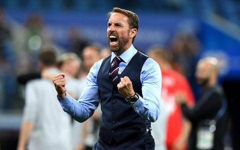 Gareth Southgate, Manager of England celebrates victory following the 2018 FIFA World Cup Russia group G match between Tunisia and England at Volgograd Arena on June 18, 2018 in Volgograd, Russia - Credit: Matthias Hangst/Getty Images