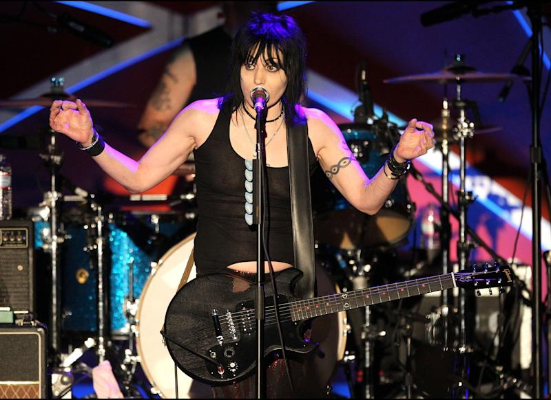 LOS ANGELES, CA: Recording artist Joan Jett and the Blackhearts perform the 18th Annual Race to Erase MS Gala at the Hyatt Regency Century Plaza Hotel on April 29, 2011 in Los Angeles, California. (Photo by Frederick M. Brown/Getty Images)