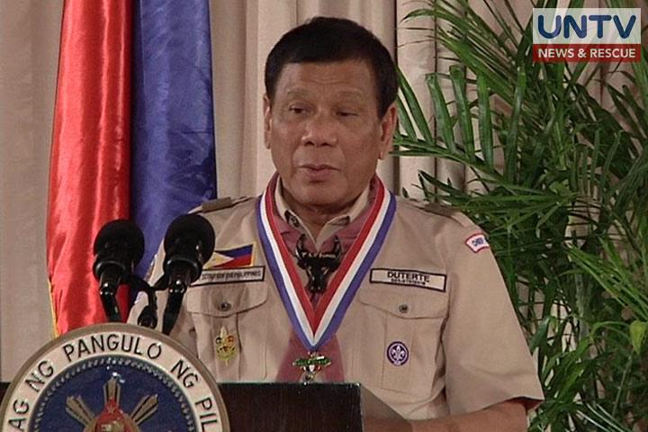 President Rodrigo Duterte during his installation as the Chief Scout of the Boy Scouts of the Philippines in Malacañang, April 3, 2017.