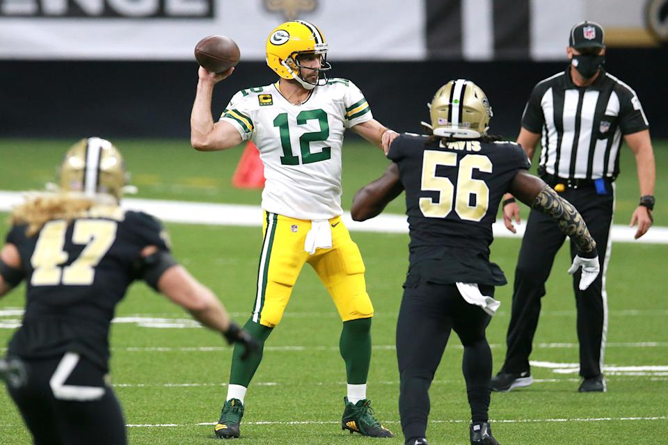 Aaron Rodgers led the Green Bay Packers to a 37-30 win over the New Orleans Saints on Sunday night. (Photo by Sean Gardner/Getty Images)