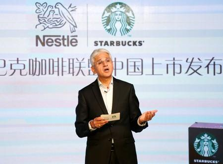 Rashid Aleem Qureshi, Nestle's Greater China region CEO attends a news conference of Nestle start selling Starbucks-branded coffee in China
