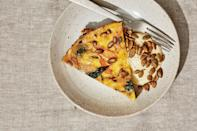 """In this frittata, the eggs cook over a low flame as the curds get folded over themselves again (and again), creating soft layers before finishing in the oven. A simple aioli balances the frittata's sweet flavors. <a href=""""https://www.epicurious.com/recipes/food/views/winter-squash-frittata?mbid=synd_yahoo_rss"""" rel=""""nofollow noopener"""" target=""""_blank"""" data-ylk=""""slk:See recipe."""" class=""""link rapid-noclick-resp"""">See recipe.</a>"""