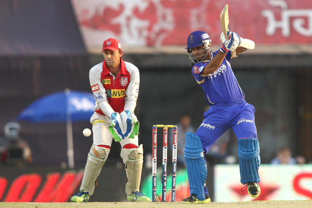 Ajinkya Rahane of Rajasthan Royals cuts a delivery through the covers during match 55 of of the Pepsi Indian Premier League between The Kings XI Punjab and the Rajasthan Royals held at the PCA Stadium, Mohali, India on the 9th May 2013..Photo by Shaun Roy-IPL-SPORTZPICS  ..Use of this image is subject to the terms and conditions as outlined by the BCCI. These terms can be found by following this link:..https://ec.yimg.com/ec?url=http%3a%2f%2fwww.sportzpics.co.za%2fimage%2fI0000SoRagM2cIEc&t=1506275405&sig=UwN6UmvjotFqDt4UKPVYEg--~D
