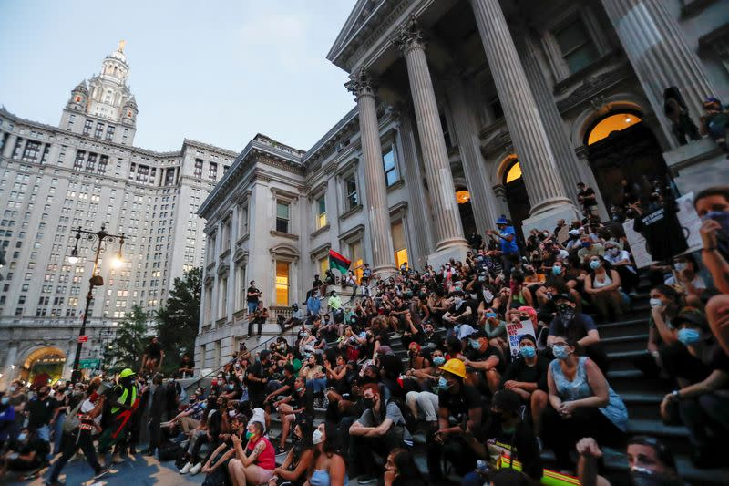 The City Hall Autonomous Zone protest to defund the New York Police Department (NYPD) in Manhattan, New York City