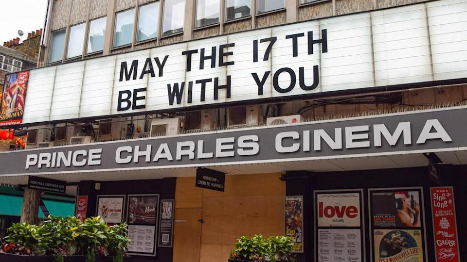 """Prince Charles Cinema with a sign reading """"May the 17th be with you"""""""
