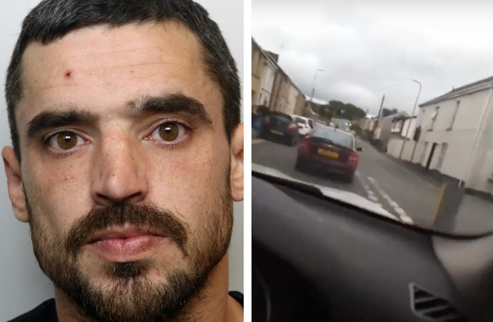 Justin Dean Jones took three videos of his own dangerous driving. (Dyfed-Powys Police)