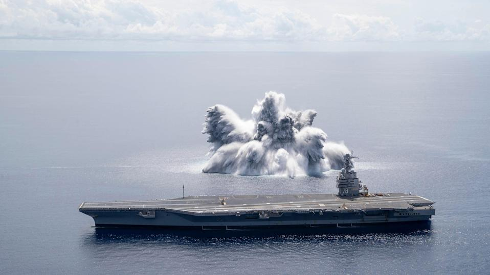 In this handout image courtesy of the US Navy the aircraft carrier USS Gerald R. Ford (CVN 78) completes the first scheduled explosive event of Full Ship Shock Trials on 18 June (US NAVY/AFP via Getty Images)