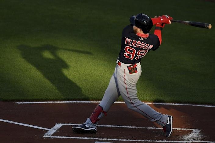 Alex Verdugo bats against the Baltimore Orioles on May 9.