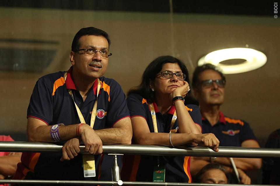 Rising Pune Supergiant owner Sanjiv Goenka with his family during match 41 of the Vivo 2017 Indian Premier League between the Kolkata Knight Riders and the Rising Pune Supergiant held at the