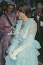 <p>Di wore this daring, semi-sheer ruffled polka dot number at a banquet given at Claridge's for King Khalid of Saudi Arabia in 1981.</p>