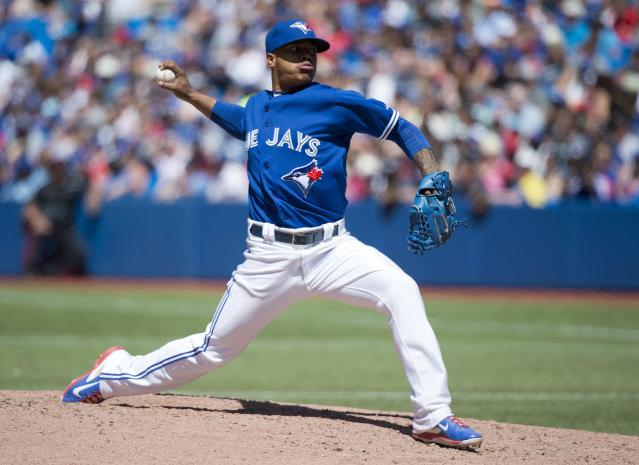 Toronto Blue Jays starting pitcher Marcus Stroman works against the Boston Red Sox during the seventh inning of a baseball game in Toronto on Thursday, July 24, 2014. (AP Photo/The Canadian Press, Nathan Denette)