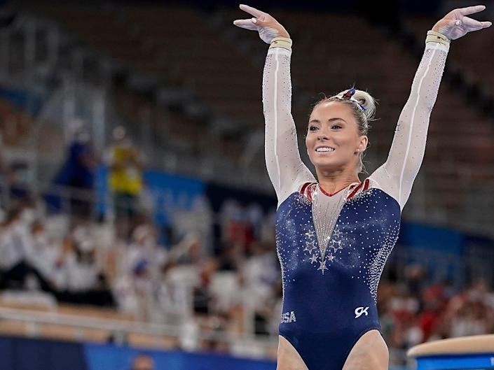MyKayla Skinner competes in the Tokyo Olympics vault final.