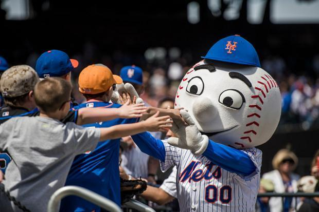 Mr. Met during happier times with Mets' fans. (Getty Images)