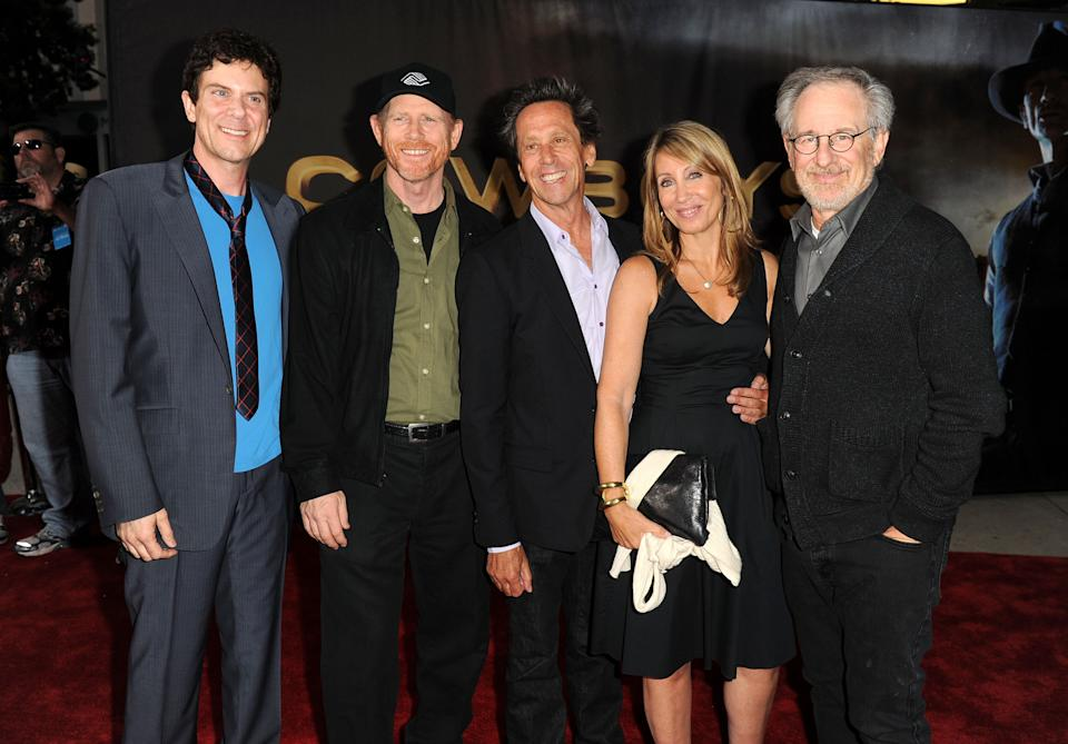 SAN DIEGO, CA - JULY 23:  (L-R) Creator/producer Scott Mitchell Rosenberg, producer Ron Howard, producer Brian Grazer, Chief Executive of DreamWorks Studios Stacey Snider, and executive producer Steven Spielberg attend the Premiere of Universal Pictures