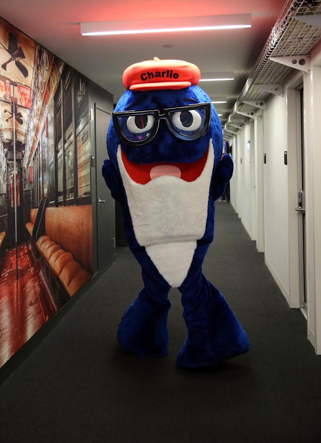 <p>Charlie the Tuna from StarKist swims the halls along with a group of company mascots brought in as interns for the day at Yahoo Studios in New York City on Sept. 25, 2017. (Photo: Gordon Donovan/Yahoo News) </p>