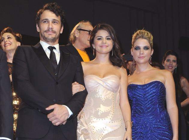 James Franco, Selena Gomez and Ashley Benson inside the 'Spring Breakers' Premiere during The 69th Venice Film Festival at the Palazzo del Cinema in Venice, Italy on September 5, 2012 -- Getty Images