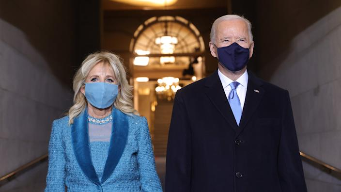 U.S. President-elect Joe Biden and Jill Biden arrive at his Biden's inauguration on the West Front of the U.S. Capitol on January 20, 2021 in Washington, DC. (Win McNamee/Getty Images)