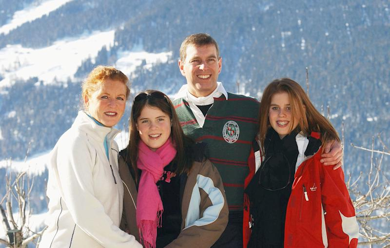 Sarah Ferguson with Princesses Eugenie (left) and Beatrice (right) and Prince Andrew. Photo: Getty Images