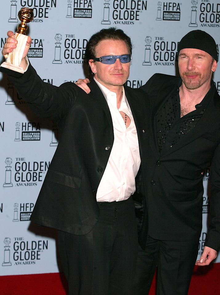 "Bono was so excited over U2's Best Original Song win at the 2003 Golden Globes that he broke one of the sacred rules of broadcasting. He dropped an F-bomb as he described the moment as ""f------ brilliant."" The FCC ended up not issuing a fine, as the singer ""used the word...as an adjective or expletive to emphasize an exclamation,"" and not as a reference to a sexual act."
