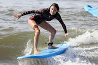 <p>Bethenny Frankel catches a wave on Tuesday in The Hamptons, New York. </p>