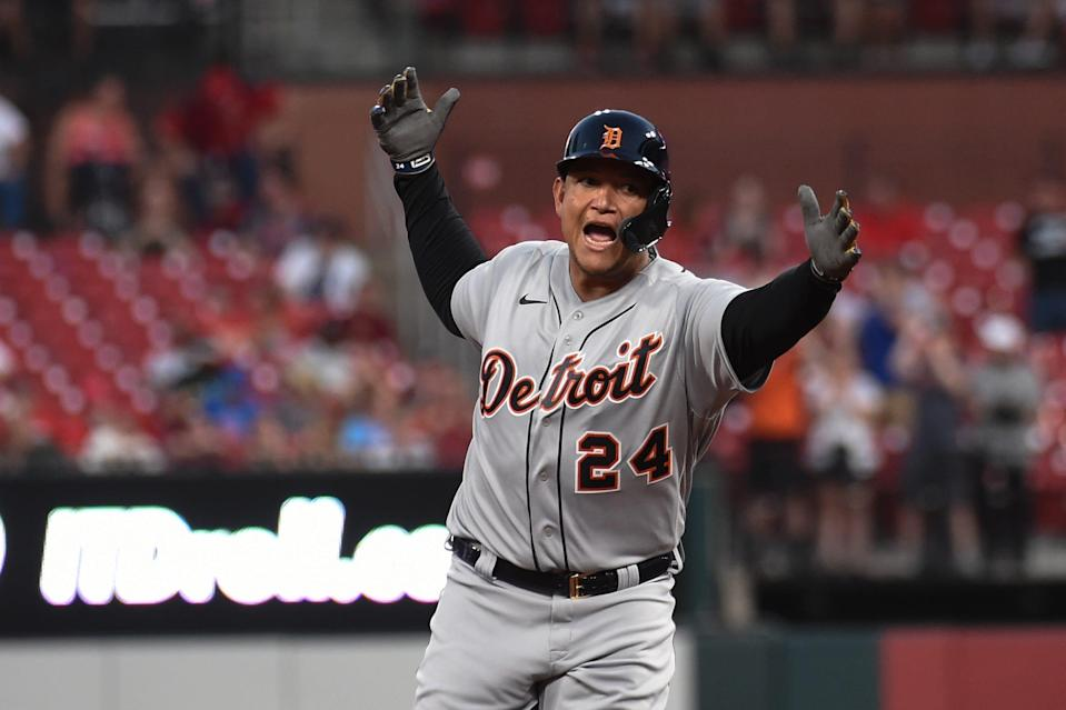 Tigers first baseman Miguel Cabrera reacts after hitting a solo home run against the Cardinals during the third inning on Tuesday, Aug. 24, 2021, in St. Louis.